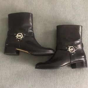 Black Michael Kors boots with silver detail